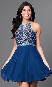 Image of racerback homecoming party dress with beaded bodice. Style: NA-6238 Front Image