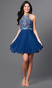 Image of racerback homecoming party dress with beaded bodice. Style: NA-6238 Detail Image 1