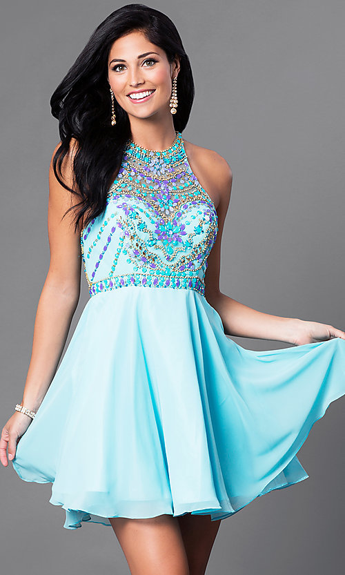 Image of racerback homecoming party dress with beaded bodice. Style: NA-6238 Detail Image 2