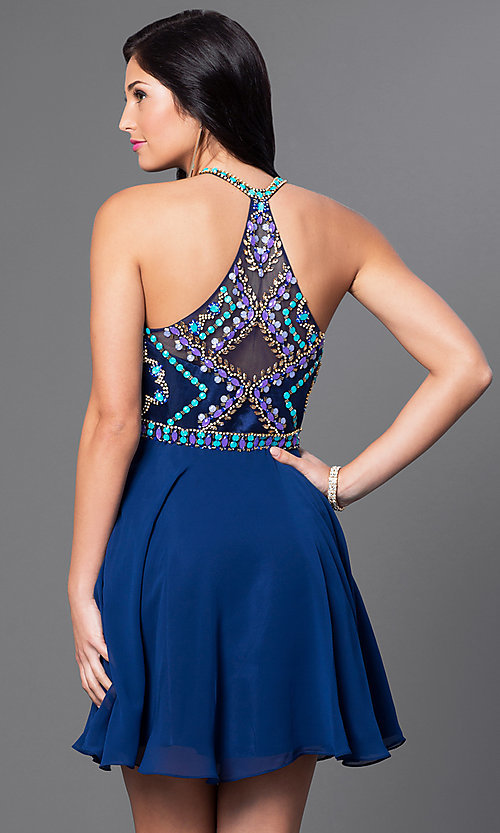 Image of racerback homecoming party dress with beaded bodice. Style: NA-6238 Back Image
