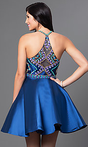 Image of short beaded-bodice racerback homecoming dress. Style: NA-6251 Back Image