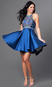 Image of short beaded-bodice racerback homecoming dress. Style: NA-6251 Detail Image 1