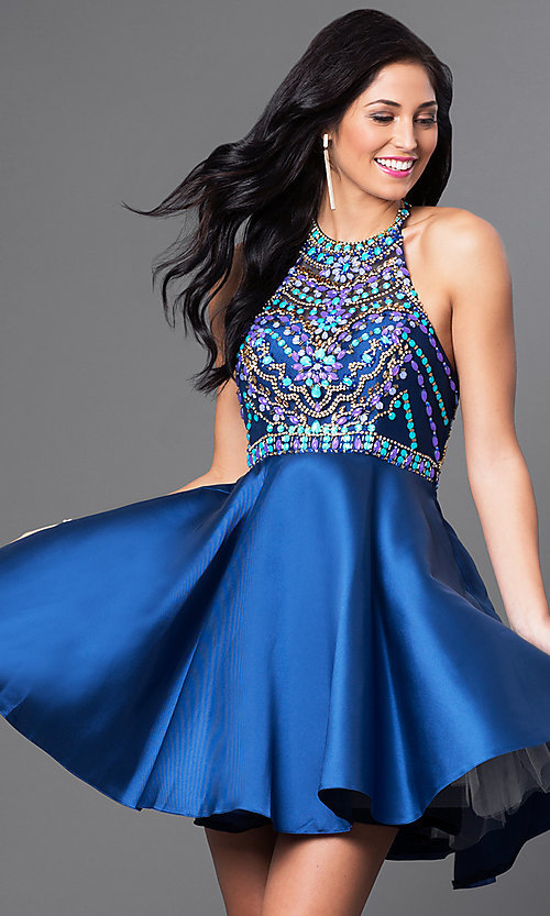 Image of short beaded-bodice racerback homecoming dress. Style: NA-6251 Front Image