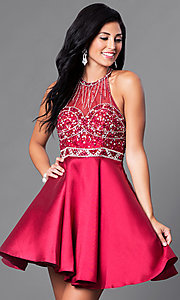 Image of short prom party dress with beaded-illusion bodice. Style: NA-6262 Detail Image 2