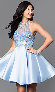 Image of short prom party dress with beaded-illusion bodice. Style: NA-6262 Front Image
