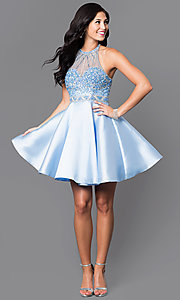Image of short prom party dress with beaded-illusion bodice. Style: NA-6262 Detail Image 1