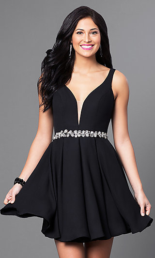 Short Wedding-Guest Party Dress with Jeweled Waist