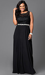 Image of lace-bodice long formal plus-size dress with jewels. Style: DQ-9325P Front Image