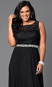 Image of lace-bodice long formal plus-size dress with jewels. Style: DQ-9325P Detail Image 1