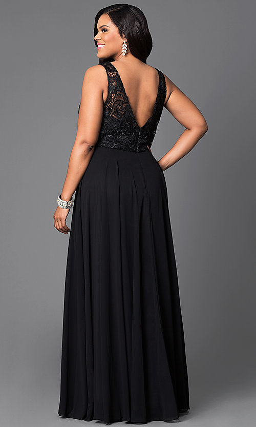 Image of lace-bodice long formal plus-size dress with jewels. Style: DQ-9325P Back Image