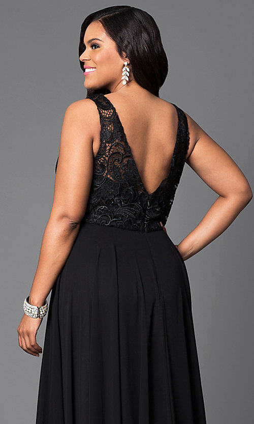 Image of lace-bodice long formal plus-size dress with jewels. Style: DQ-9325P Detail Image 2