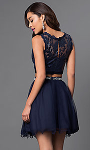 Image of sequined navy two-piece short party dress. Style: MY-2611MU1P Back Image