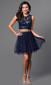 Image of sequined navy two-piece short party dress. Style: MY-2611MU1P Detail Image 1