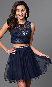 Image of sequined navy two-piece short party dress. Style: MY-2611MU1P Front Image