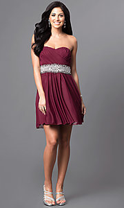 Image of embellished-waist short strapless party dress.  Style: MY-2539XY1P Detail Image 1