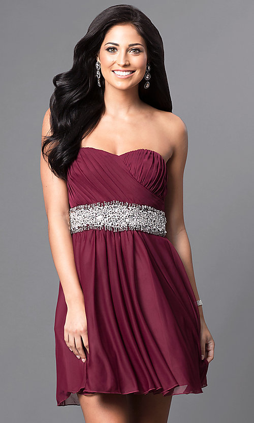 Image of embellished-waist short strapless party dress.  Style: MY-2539XY1P Front Image