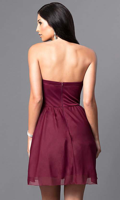Image of embellished-waist short strapless party dress.  Style: MY-2539XY1P Back Image