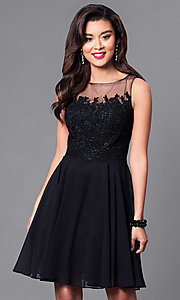 Image of embellished lace-bodice sleeveless short dress. Style: PO-7652 Detail Image 1
