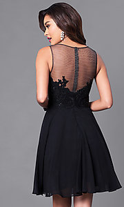 Image of embellished lace-bodice sleeveless short dress. Style: PO-7652 Back Image