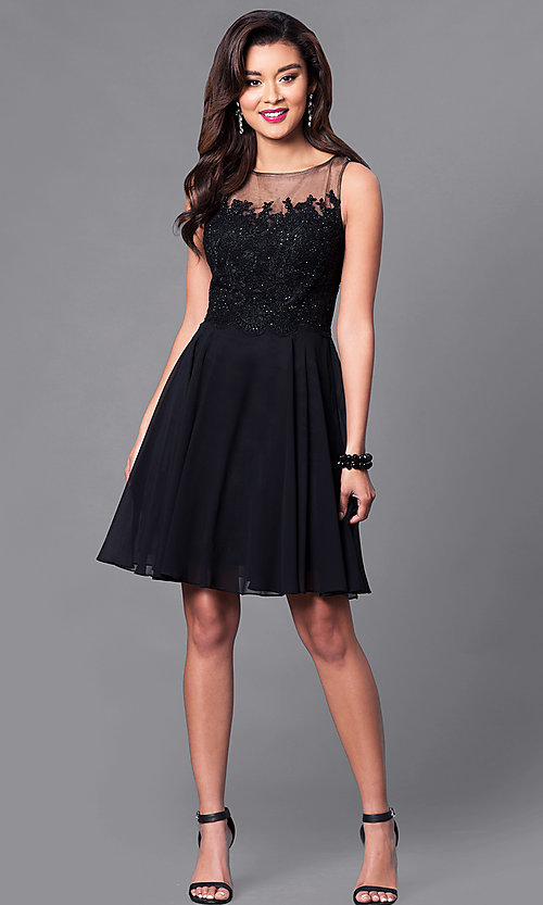 Image of embellished lace-bodice sleeveless short dress. Style: PO-7652 Detail Image 2