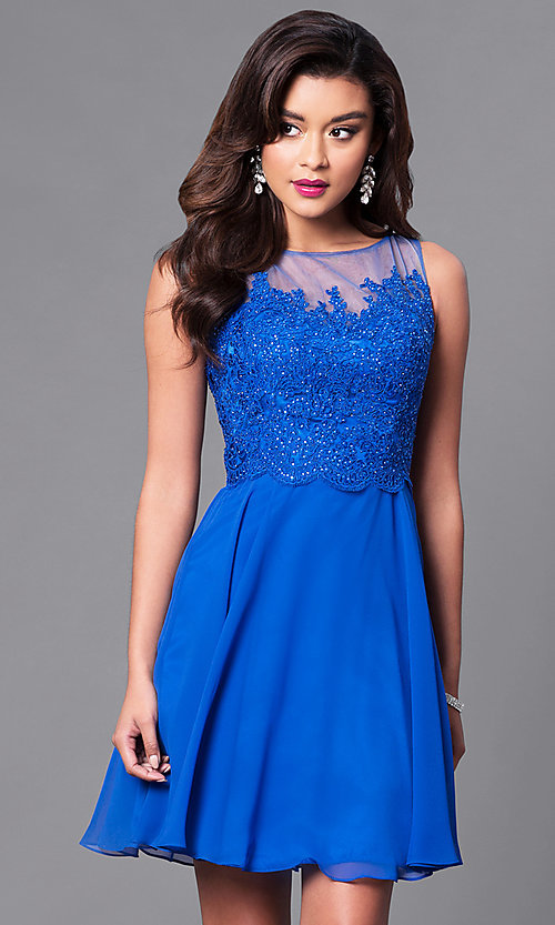 Image of embellished lace-bodice sleeveless short dress. Style: PO-7652 Detail Image 3