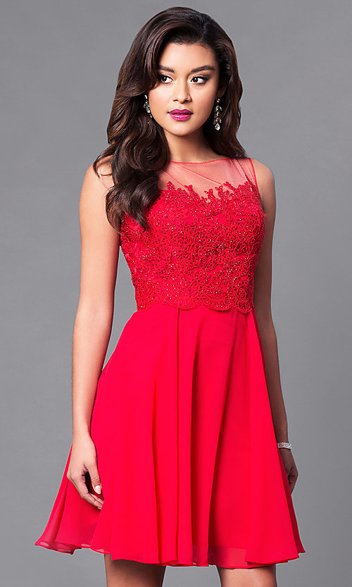 Image of embellished lace-bodice sleeveless short dress. Style: PO-7652 Front Image