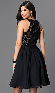 Image of knee-length a-line beaded lace-bodice party dress. Style: PO-7794 Back Image