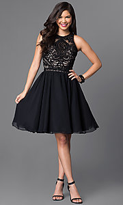 Image of knee-length a-line beaded lace-bodice party dress. Style: PO-7794 Detail Image 1