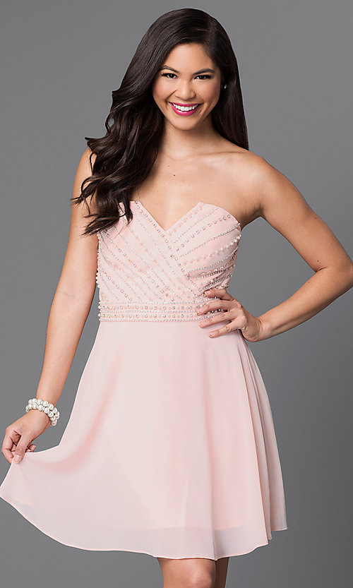 Image of strapless short party dress with beaded bodice. Style: MT-7795-1 Front Image