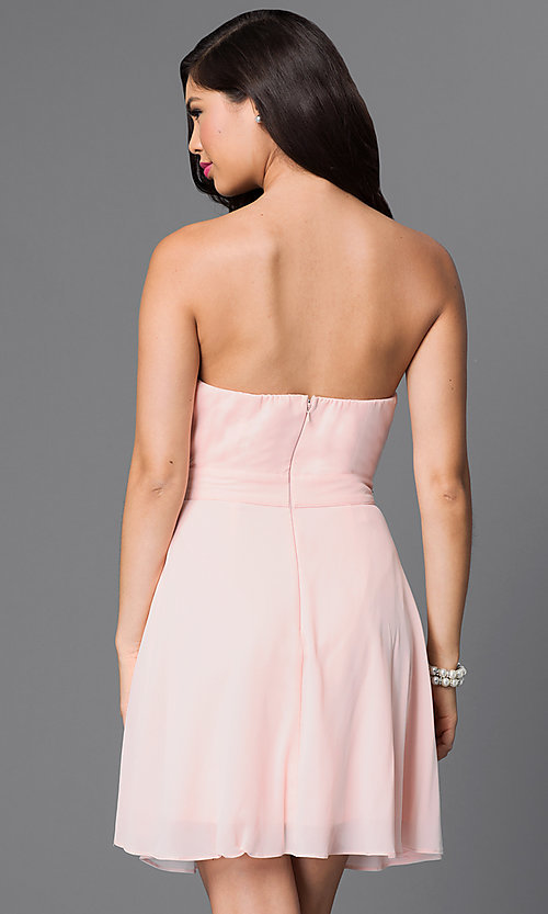 Image of strapless short party dress with beaded bodice. Style: MT-7795-1 Back Image