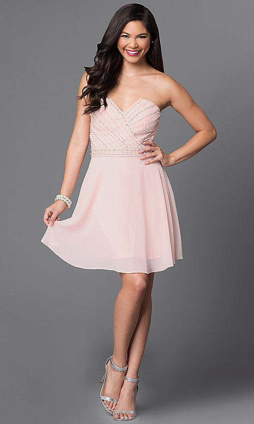 Image of strapless short party dress with beaded bodice. Style: MT-7795-1 Detail Image 1