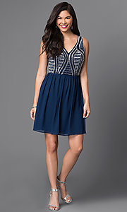 Image of navy blue short party dress with beaded bodice. Style: MT-7598-3 Detail Image 1