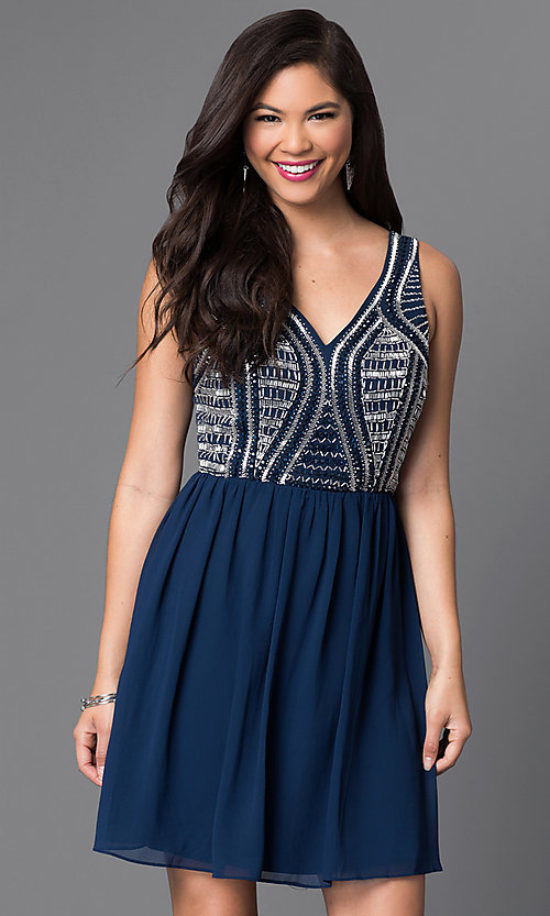 Image of navy blue short party dress with beaded bodice. Style: MT-7598-3 Front Image