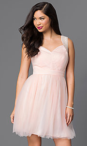 Image of sleeveless short tulle party dress. Style: MT-7069-1 Front Image