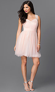 Image of sleeveless short tulle party dress. Style: MT-7069-1 Detail Image 1