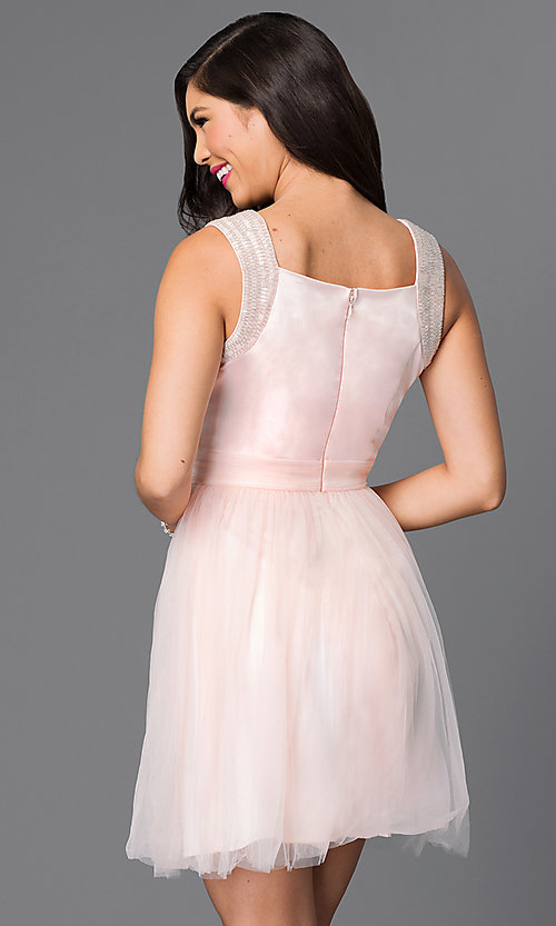 Image of sleeveless short tulle party dress. Style: MT-7069-1 Back Image