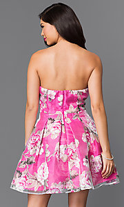 Image of short strapless floral-print homecoming dress. Style: MT-7712-1 Back Image