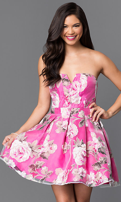 Image of short strapless floral-print homecoming dress. Style: MT-7712-1 Front Image