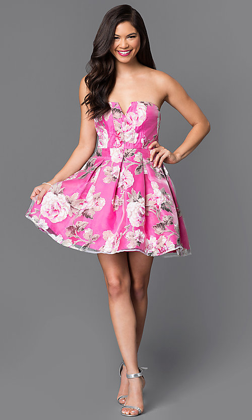 Image of short strapless floral-print homecoming dress. Style: MT-7712-1 Detail Image 1