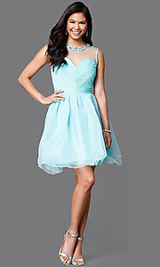Image of illusion sweetheart short sleeveless party dress Style: CL-Di259 Detail Image 1