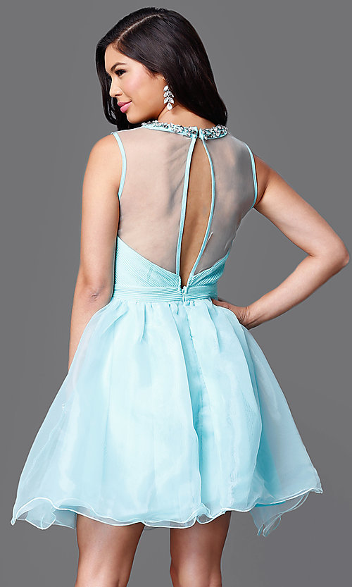 Image of illusion sweetheart short sleeveless party dress Style: CL-Di259 Back Image