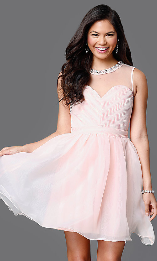 Image of illusion sweetheart short sleeveless party dress Style: CL-Di259 Detail Image 2