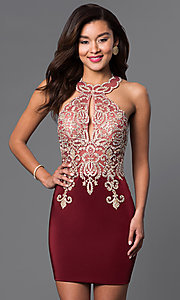 Image of short lace-embellished homecoming party dress. Style: DJ-2973 Front Image