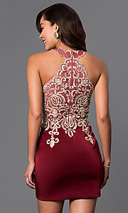 Image of short lace-embellished homecoming party dress. Style: DJ-2973 Back Image