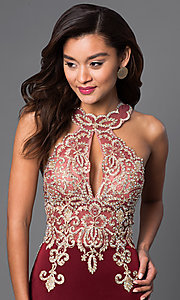 Image of short lace-embellished homecoming party dress. Style: DJ-2973 Detail Image 1