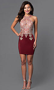 Image of short lace-embellished homecoming party dress. Style: DJ-2973 Detail Image 2