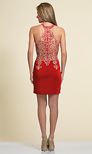 Image of short lace-embellished homecoming party dress. Style: DJ-2973 Detail Image 4