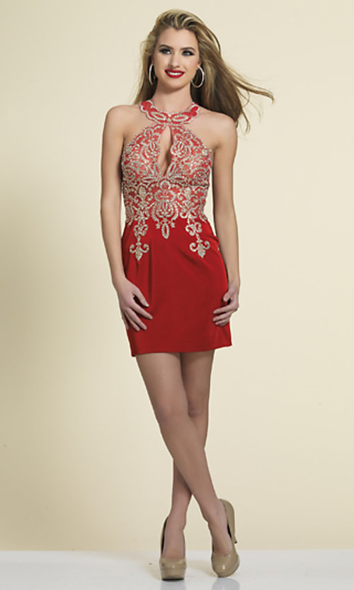 Image of short lace-embellished homecoming party dress. Style: DJ-2973 Detail Image 3