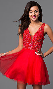Image of v-neck short red party dress with beaded bodice. Style: DJ-A4190 Front Image