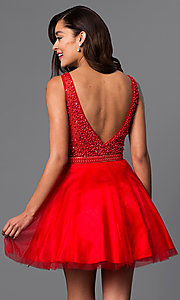 Image of v-neck short red party dress with beaded bodice. Style: DJ-A4190 Back Image